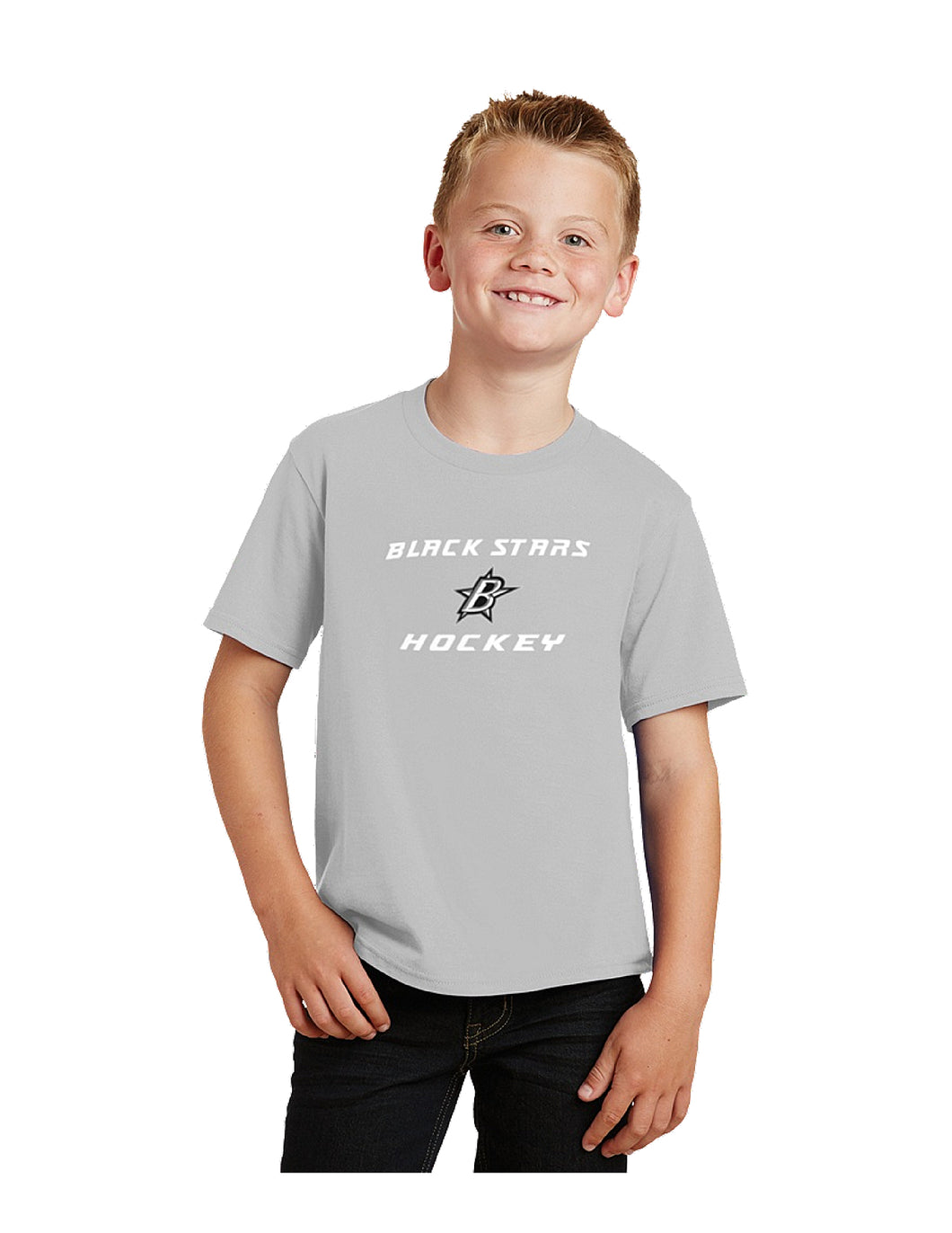 Black Stars Port & Company® Youth Fan Favorite™Tee Silver with Black Stars Hockey Logo (PC450Y)