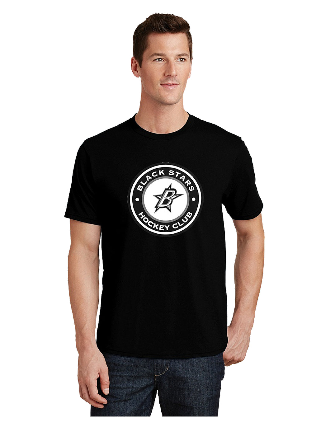 Black Stars Port & Company® Fan Favorite™ Tee Black With Screen Printed Black Stars Hockey Club Logo (PC450)