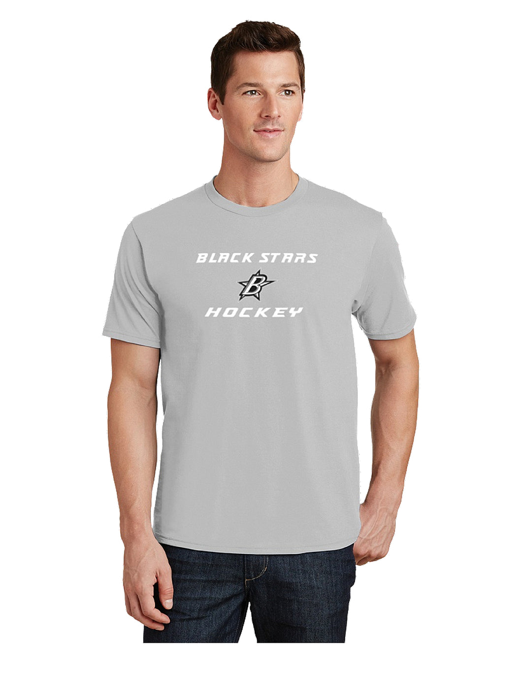 Black Stars Port & Company® Fan Favorite™ Tee Silver with Black Stars Hockey Logo (PC450)
