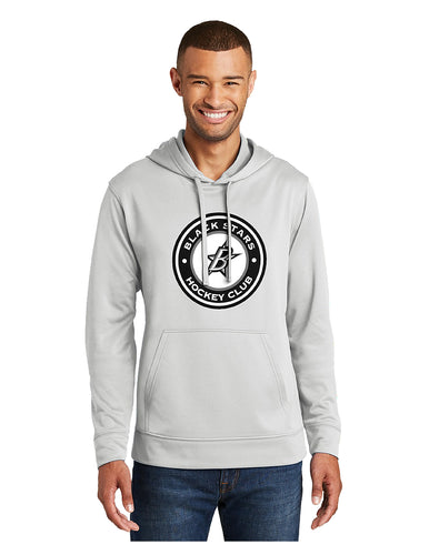 Black Stars Port & Company® Performance Fleece Pullover Hooded Sweatshirt Silver With Screen Printed Black Stars Hockey Club Logo (PC590H)