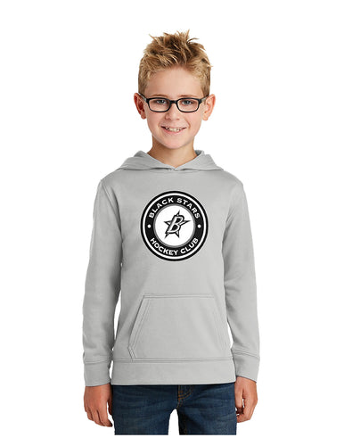 Black Stars Port & Company® Youth Performance Fleece Pullover Hooded Sweatshirt Silver with Black Stars Circle Club Logo (PC590YH)