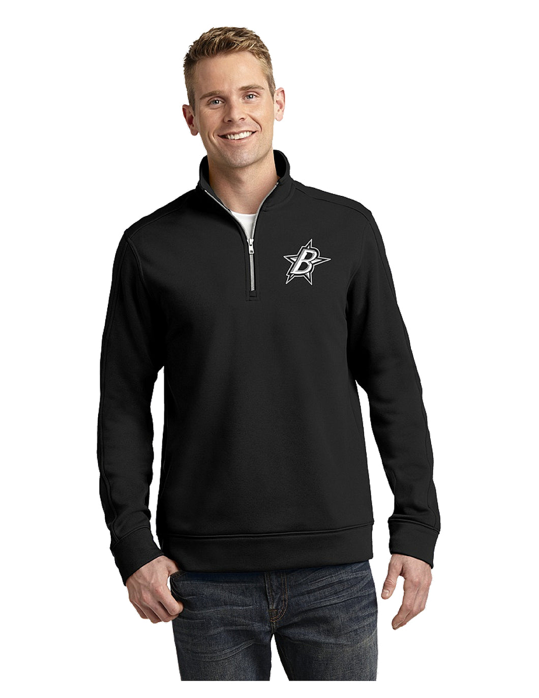 Black Stars Sport-Tek® Repel Black Fleece 1/4-Zip Pullover With Embroidered Black Stars