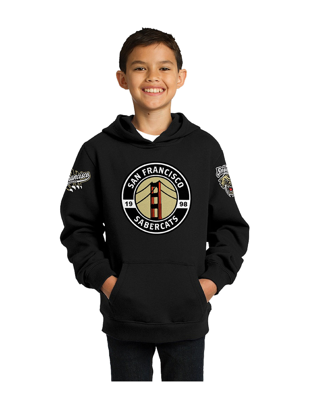 Sabercats Sport-Tek® Youth Pullover Hooded Sweatshirt Black with Screen Printed Sabercats Three Logos (YST254)