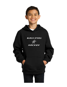 Black Stars Sport-Tek® Youth Pullover Hooded Sweatshirt Black With Black Stars Hockey Logo (YST254)