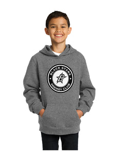 Black Stars Sport-Tek® Youth Pullover Hooded Sweatshirt Vintage Grey With Black Stars Circle Club Logo (YST254)