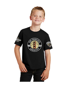 Sabercats Port & Company® Youth Fan Favorite™Tee Black with Screen Printed Three Sabercats Logos  (PC450Y)