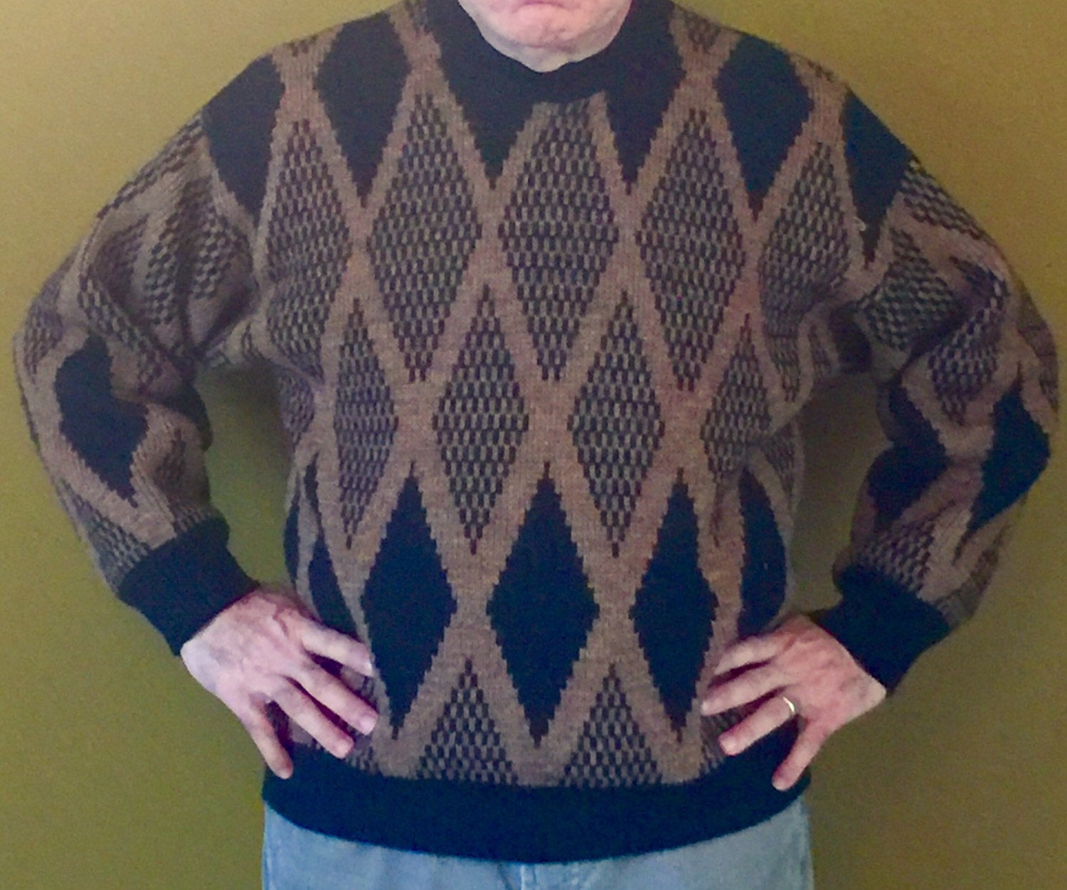 Vintage Chabika Wool Diamond Pattern Mens Sweater