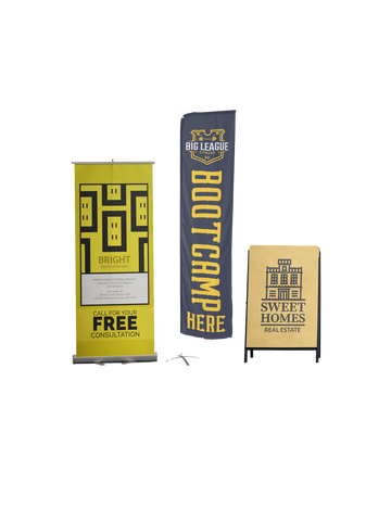 drop banner, flag banner, yard signs