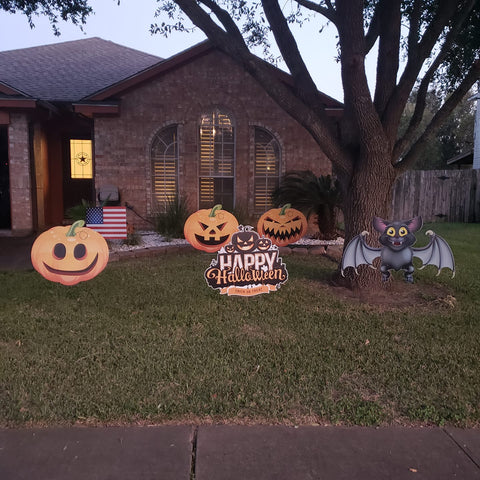 5 Halloween Yard Art Signs decorations.  Jack-O-Lanterns, Cutouts,