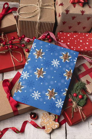 Personalized Christmas Wrapping Paper: Blue Snowflakes
