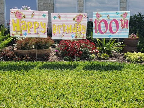 "Happy Birthday Children Yard Sign Theme, 24""x18"" - Stakes Included"