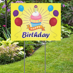 Happy Birthday with Cupcake Yard Sign