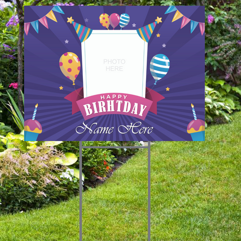 "Happy Birthday Yard Sign with Photo and Name -  24""x18""  Includes Stake  and Shipping"