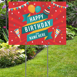 Festive Happy Birthday Yard Sign with Name - Fiesta Style