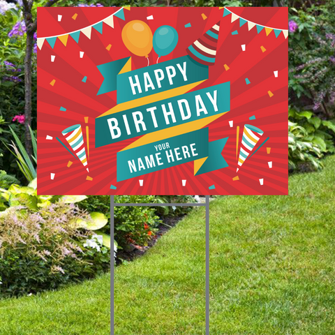 "Festive Happy Birthday Yard Sign with Name -  24""x18""  Includes Stake  and Shipping"