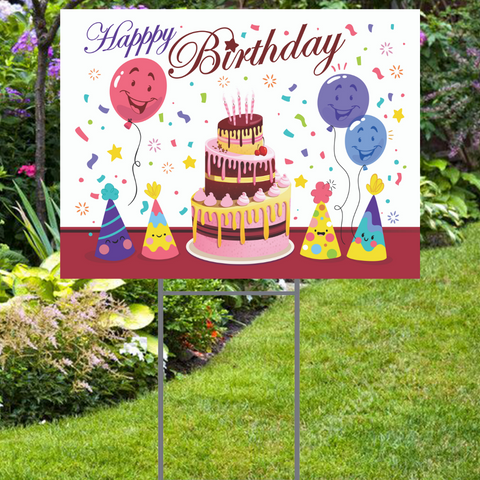 "Smiling Balloons  Happy Birthday Yard Sign -  24""x18""  Includes Stake  and Shipping"