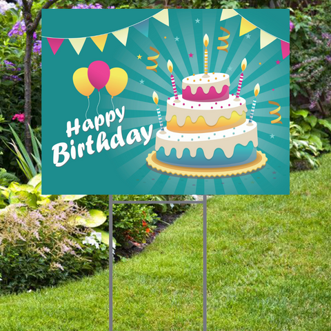 "Happy Birthday Yard Sign  Party Style with Cake -  24""x18""  Includes Stake  and Shipping"