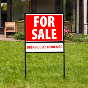 "Real Estate Sign with Sign Holder 24""x18"" Double Sided with Rider"