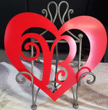 Valentine Heart with Initial in Center. Red Aluminum 14""