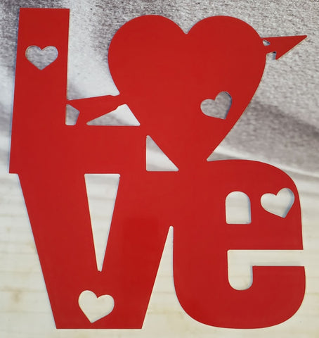 Valentine Sign: Love with Hearts, Red Aluminum