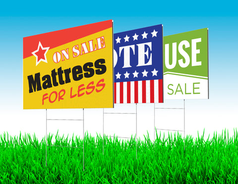 "24""x 36"" Corplast Yard Signs QTY: 10 - Stakes Included"
