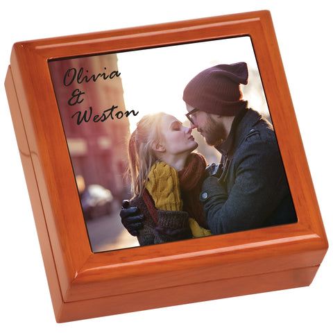 Custom Brown Gift Box Full Color Ceramic Tile Image - Jewelry Box