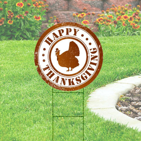 "Happy Thanksgiving Circle Yard Sign 23""x23"" coroplast"