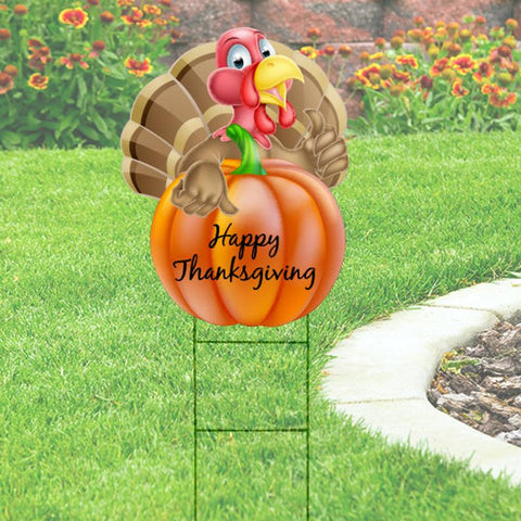 "Happy Thanksgiving Yard Sign: Turkey with Pumpkin 18""x24"""