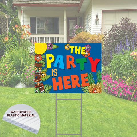 "The Party Is Here  Happy Birthday Yard Sign  24""x 18""  Includes Stake  and Shipping"