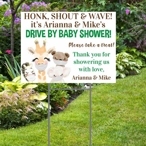 Custom Drive By Baby Shower Yard Sign: Cute Animal Masked Sign. Free Shipping and Stake