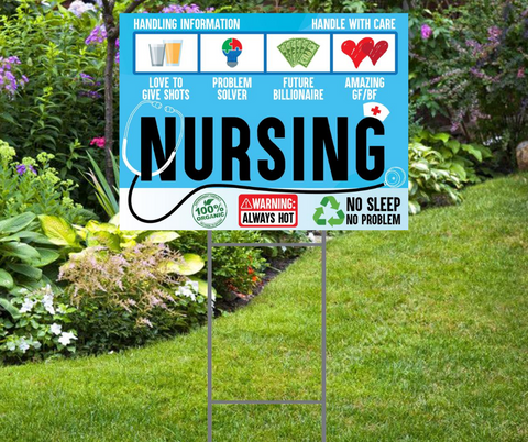 Cute Nurse Yard Sign.  Includes Yard Stake
