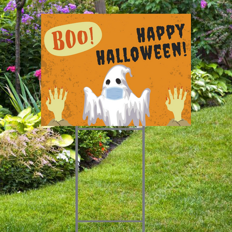 "Halloween Yard Sign with Ghost Social Distancing  24""x18"". Stake and Shipping Included"