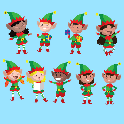 9 Christmas Elves Corrugated Plastic Cutouts: Yard Art Christmas Decoration