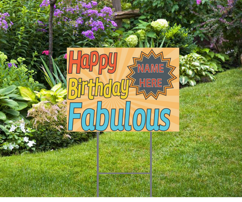 "Happy Birthday Retro Yard Sign 24""x18"" includes stakes, Personalized"