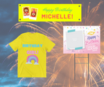 Birthday Party Print Package - . 2 Yard Signs, 3 T-Shirts  and Vinyl Banner