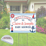 Baby Shower Yard Sign -Marine Nautical Theme -Includes Stake 24x18, Boat, Lighthouse, anchor, Ocean, Water