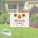 "Cute Personalized Happy Birthday Yard Sign 24""x18""  Includes Stake  and Shipping"