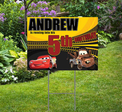 "Cars Theme   Happy Birthday Yard Sign  24""x 18""  Includes Stake  and Shipping"