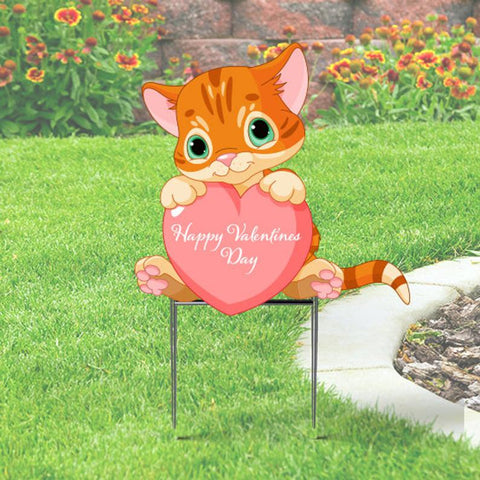 Cute Valentine Sign with Kitten Holding a Heart