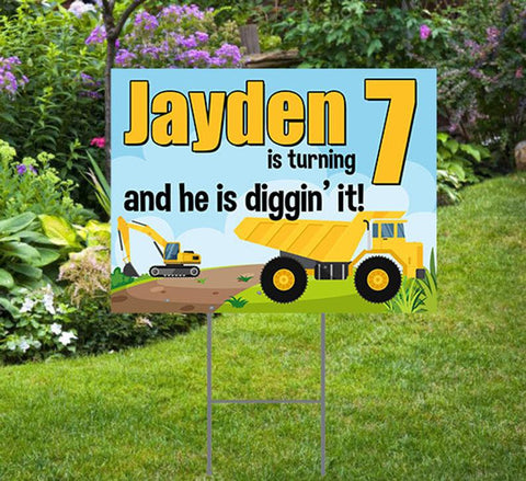 Happy Birthday Yard Sign  Construction Theme