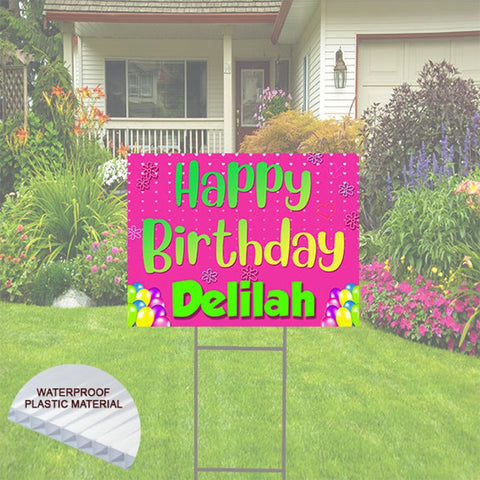 Pink Happy Birthday Yard Sign, Includes Shipping and Stake