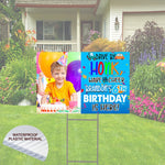 Drive By and Honk Happy Birthday Yard Sign.  with Picture and Name.