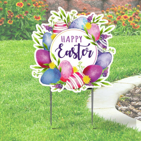 Easter Yard Sign in Floral Design