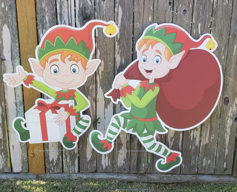The Elves Christmas Yard Signs and Decoration