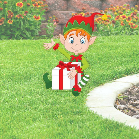 Elf with Present Yard Sign Cutout comes with H-Stake 24x36   Christmas Yard Decorations, Elves