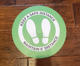 "Circle Floor Graphics -  Social Distancing Signage Floor Decals 14"" - Pack of 5"
