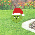 Smiling Grinch Yard Sing with stocking hat. 24x20 Christmas Yard Decoration