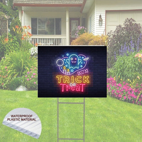Electrifying  Halloween Yard Sign Neon Theme, Trick or Treat - Includes Shipping