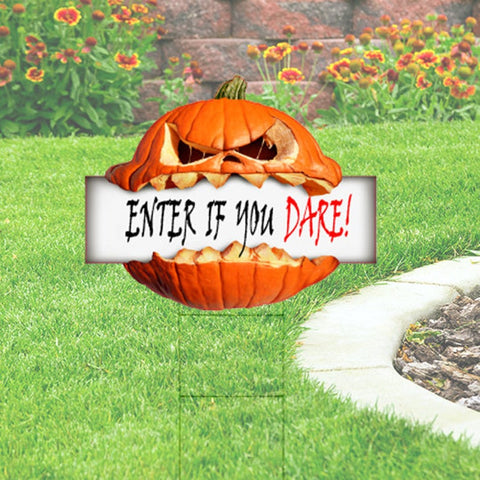 Cute Halloween Pumpkin Cutout Yard Sign - Enter if you Dare. Free Shipping