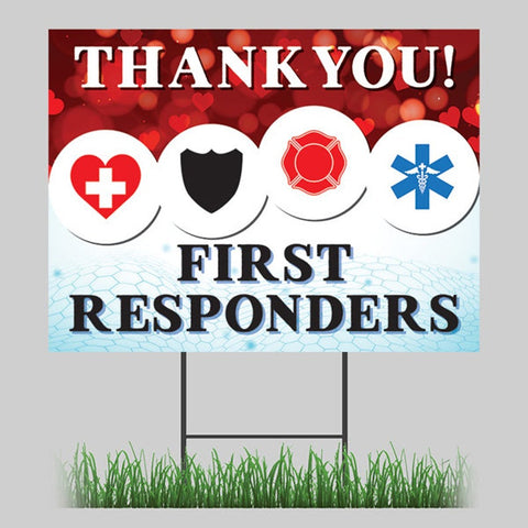 First Responders Thank You Yard Sign 24x18